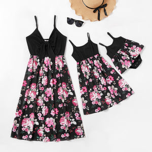 Mommy and Me Flower Print Stitching Tank Dresses