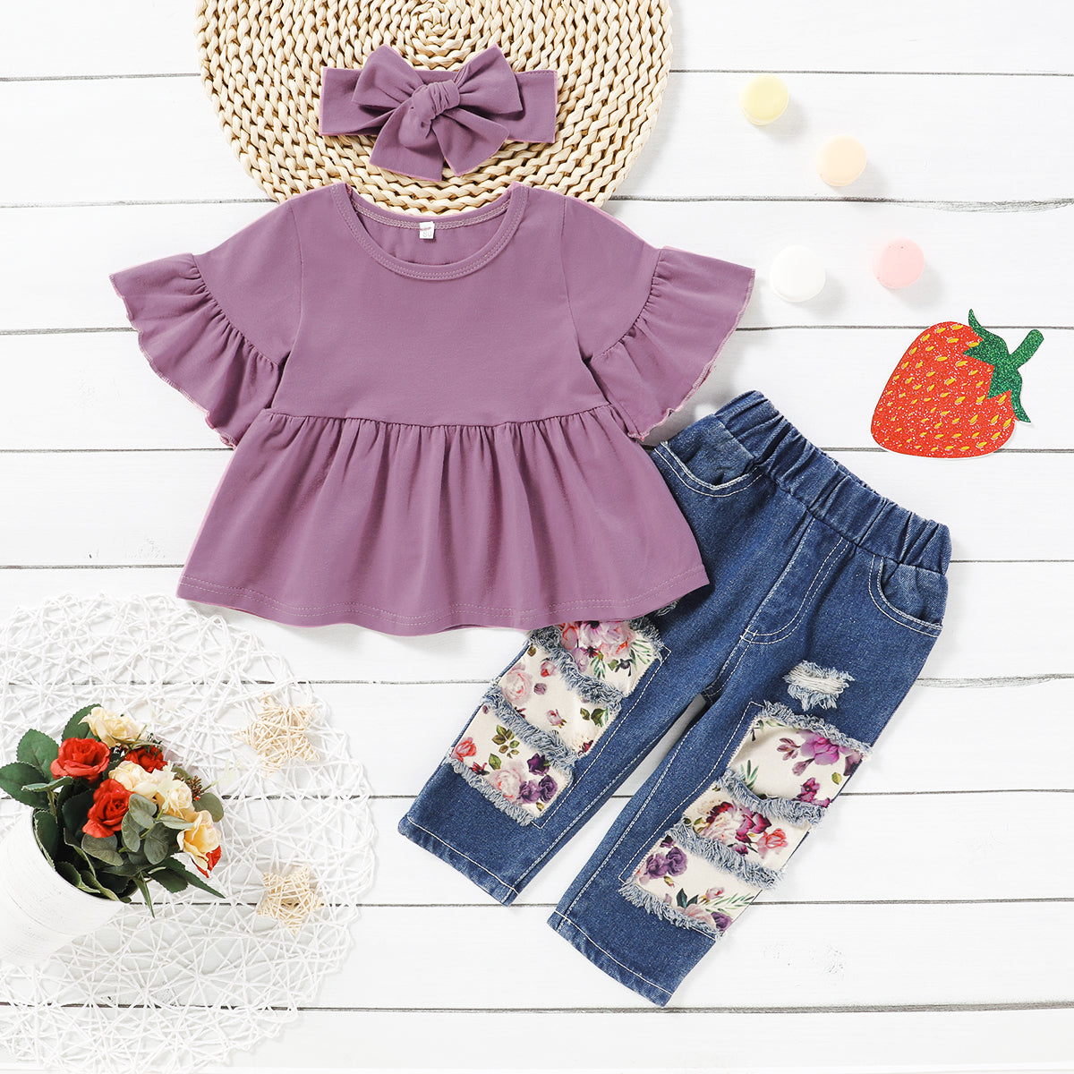 3-piece Baby / Toddler Girl Casual Solid Bell Sleeves Top and Floral Cropped Pants with Headband Set