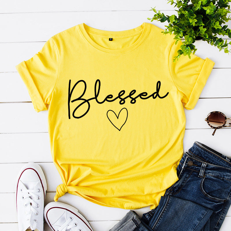 Pretty Short-sleeve Love Letter Printed Loose Tee For women