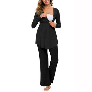 Cozy Solid Long-sleeve Nursing Pajamas Set