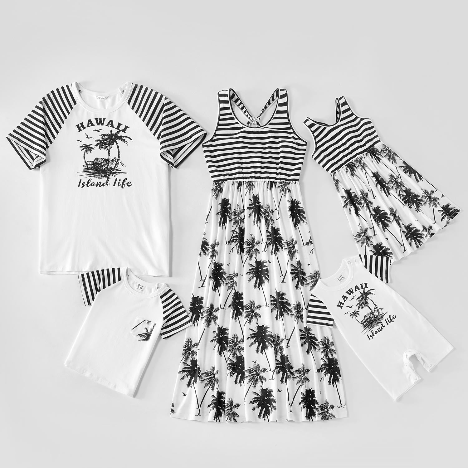Mosaic Family Matching Coconut Trees Striped Cotton Tank Dresses and Raglan Sleeves T-shirts