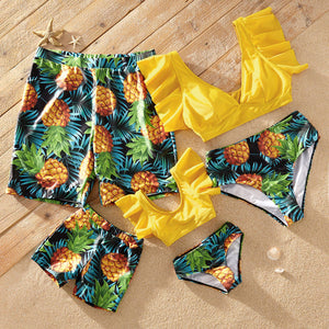 Ruffle Sleeve Pineapple Print Matching Swimsuits