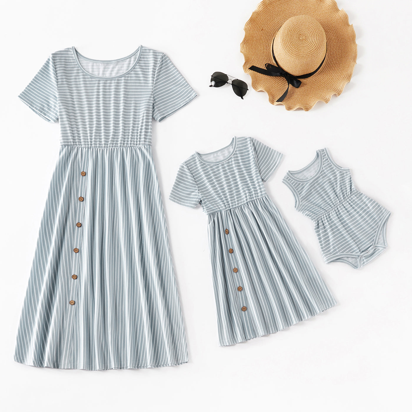 Striped Stitching Short-sleeve Matching Dresses