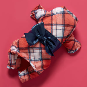 Pet Bow-knot Plaid Dress