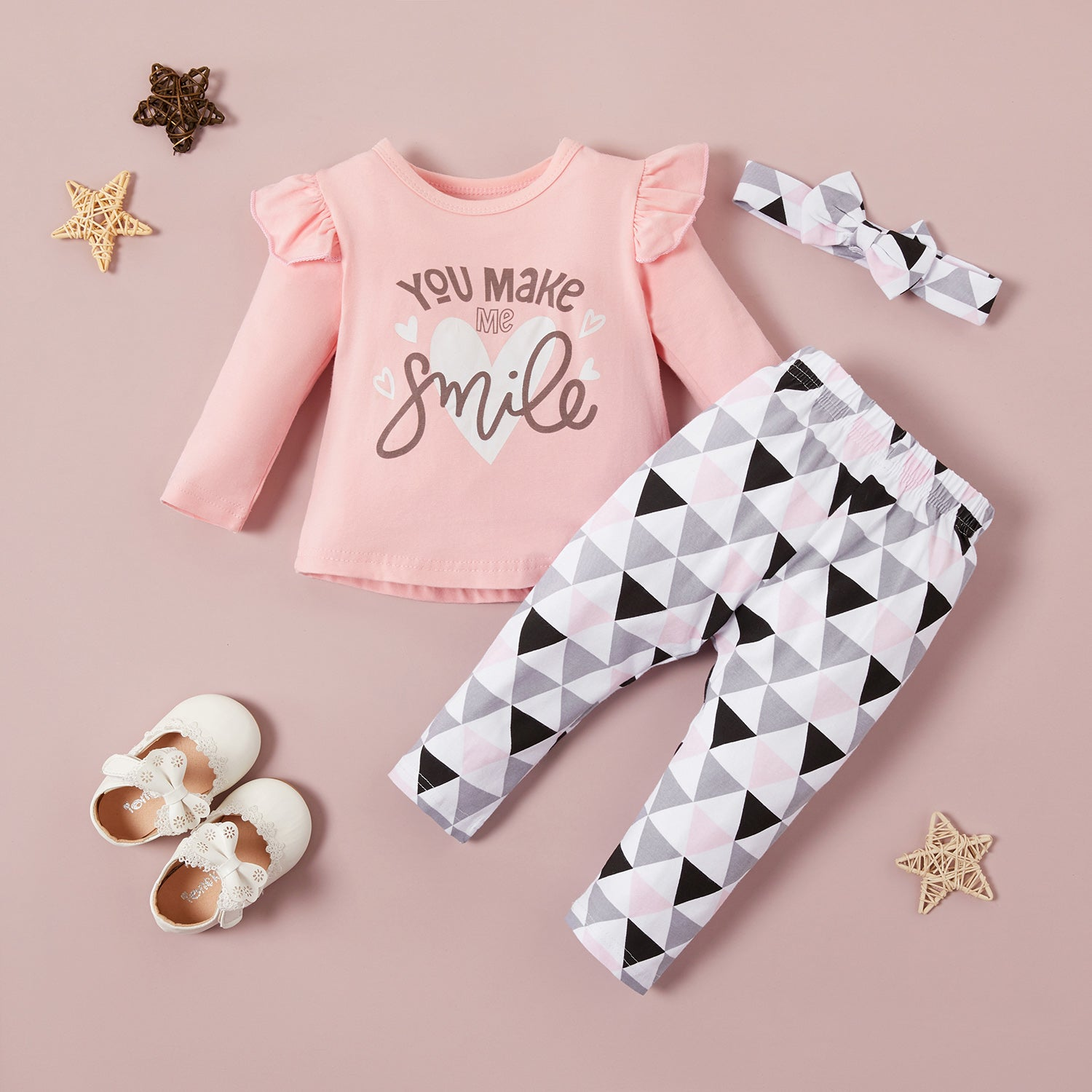3-piece Letter Print Long-sleeve Top and Geo Print Pants Set