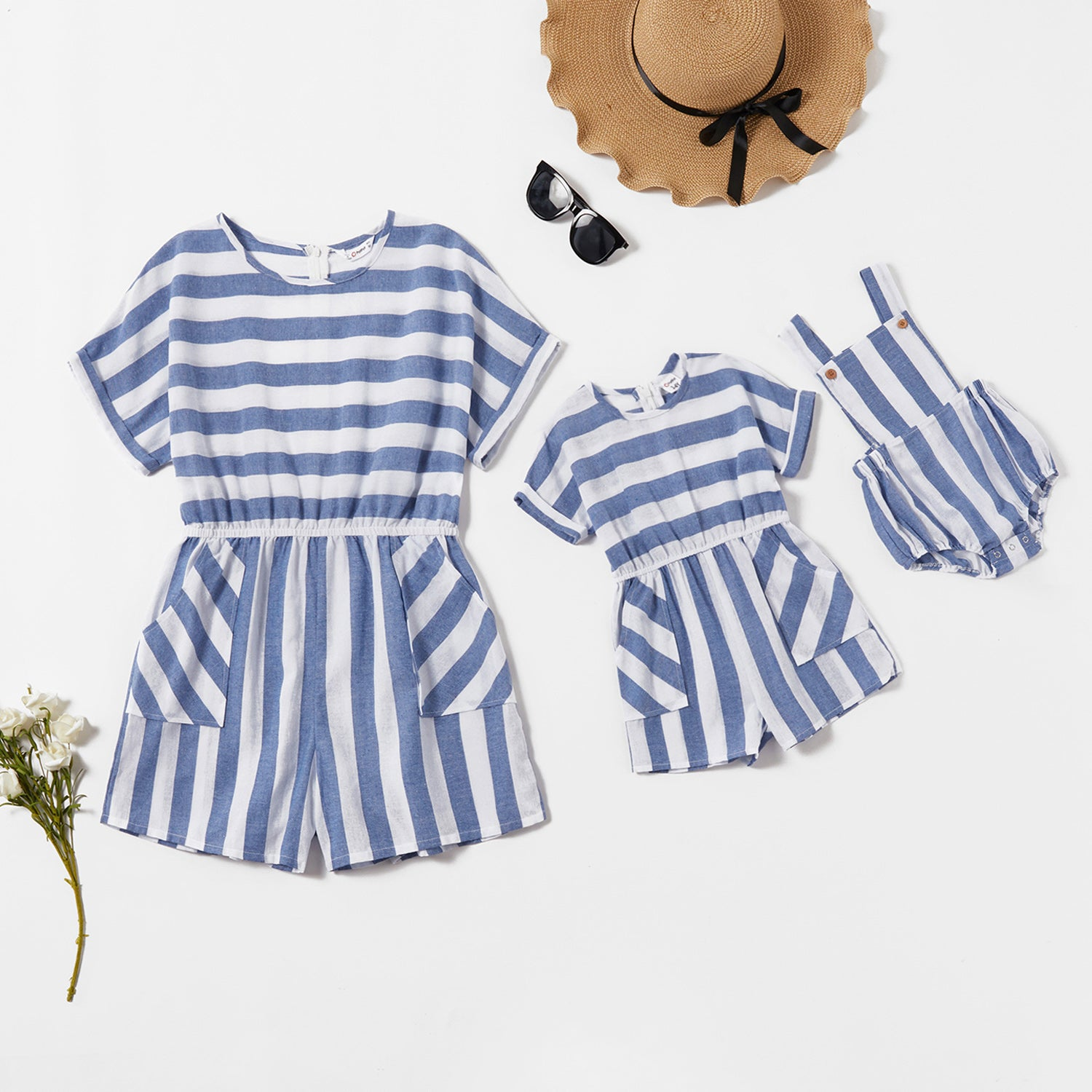 Mommy and Me Striped Short-sleeve Jumpsuits