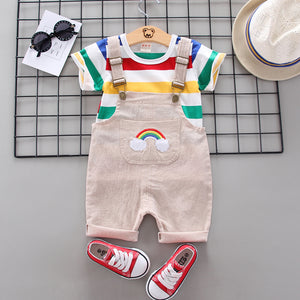 Baby Casual Rainbow Striped Print Top and Overalls Set