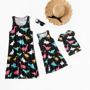 Mommy and Me Cute Dinosaur Print Tank Dresses