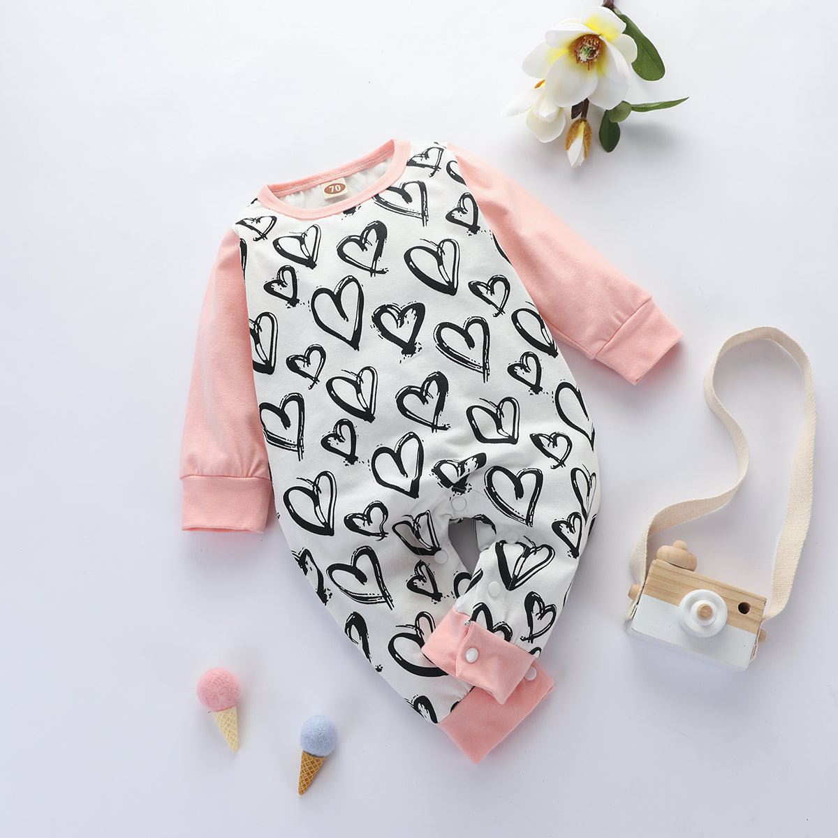 Baby Pretty Heart Allover Print Long-sleeve Jumpsuits