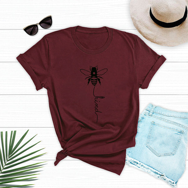 Pretty Short-sleeve Letter Bee Printed Loose Tee For women