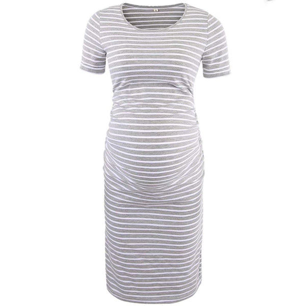 Casual Striped Short-sleeve Maternity Dress