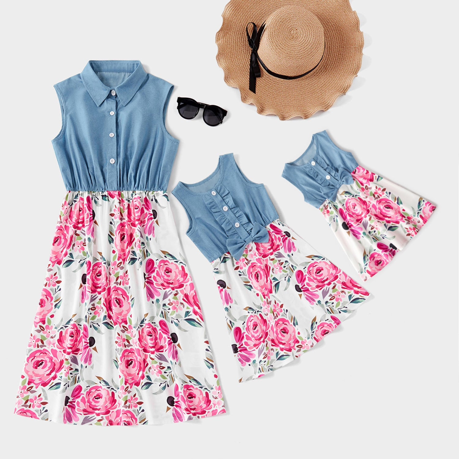 Denim Stitching Flower Print Matching Dresses