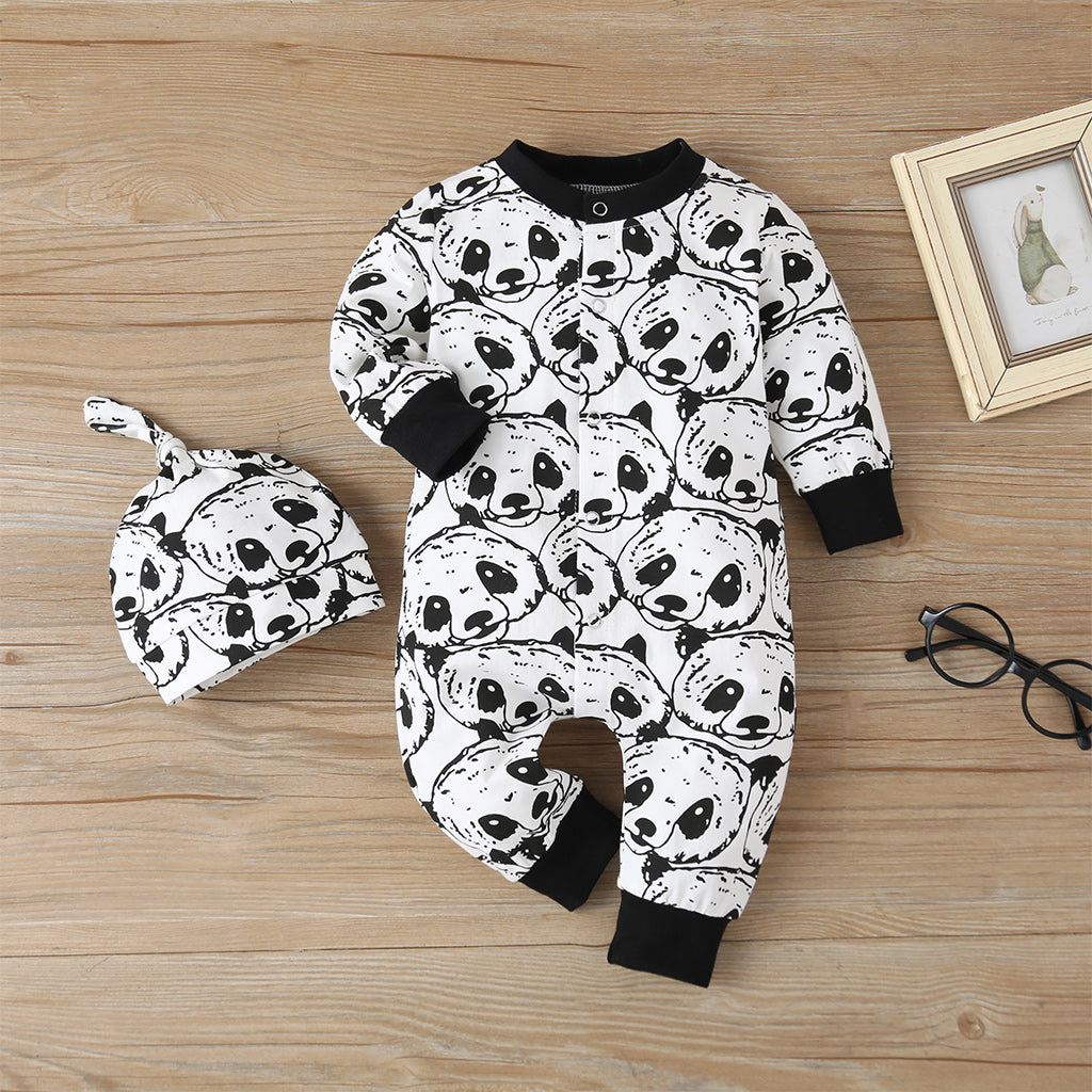 Baby Panda Print Long-sleeve Jumpsuit with Hat Set