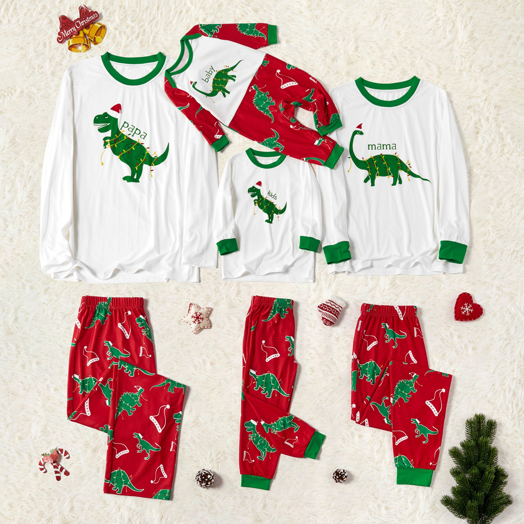 Family Matching Dinosaur Wearing Christmas Hat Print Pajamas Sets (Flame Resistant)