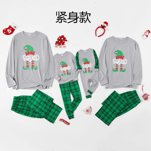 Christmas Elf Squad Print Plaid Family Matching Pajamas Sets