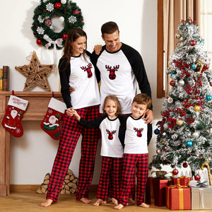 Christmas Plaid Deer Print Family Matching Pajamas Sets (Flame Resistant)