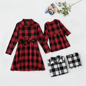 Mommy and Me Christmas Plaid Long sleeve Dresses