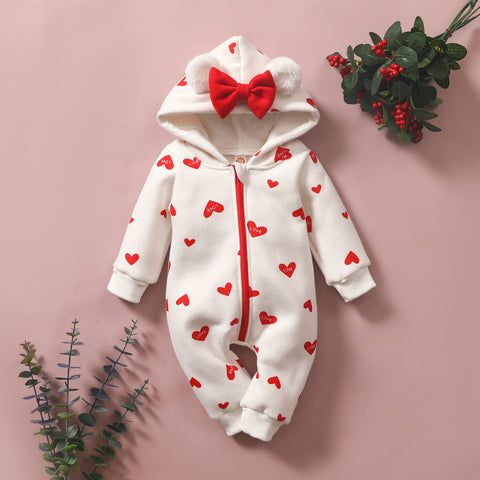 Baby Sweet Bowknot Heart Hooded Jumpsuit