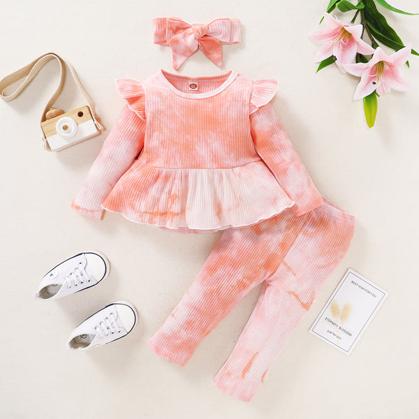 2pcs Baby Girl Long-sleeve Cotton Sweet Tie dye Baby's Sets
