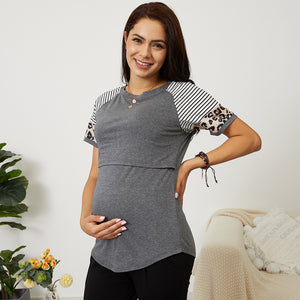 Sassy Striped and Leopard Print Nursing Tee