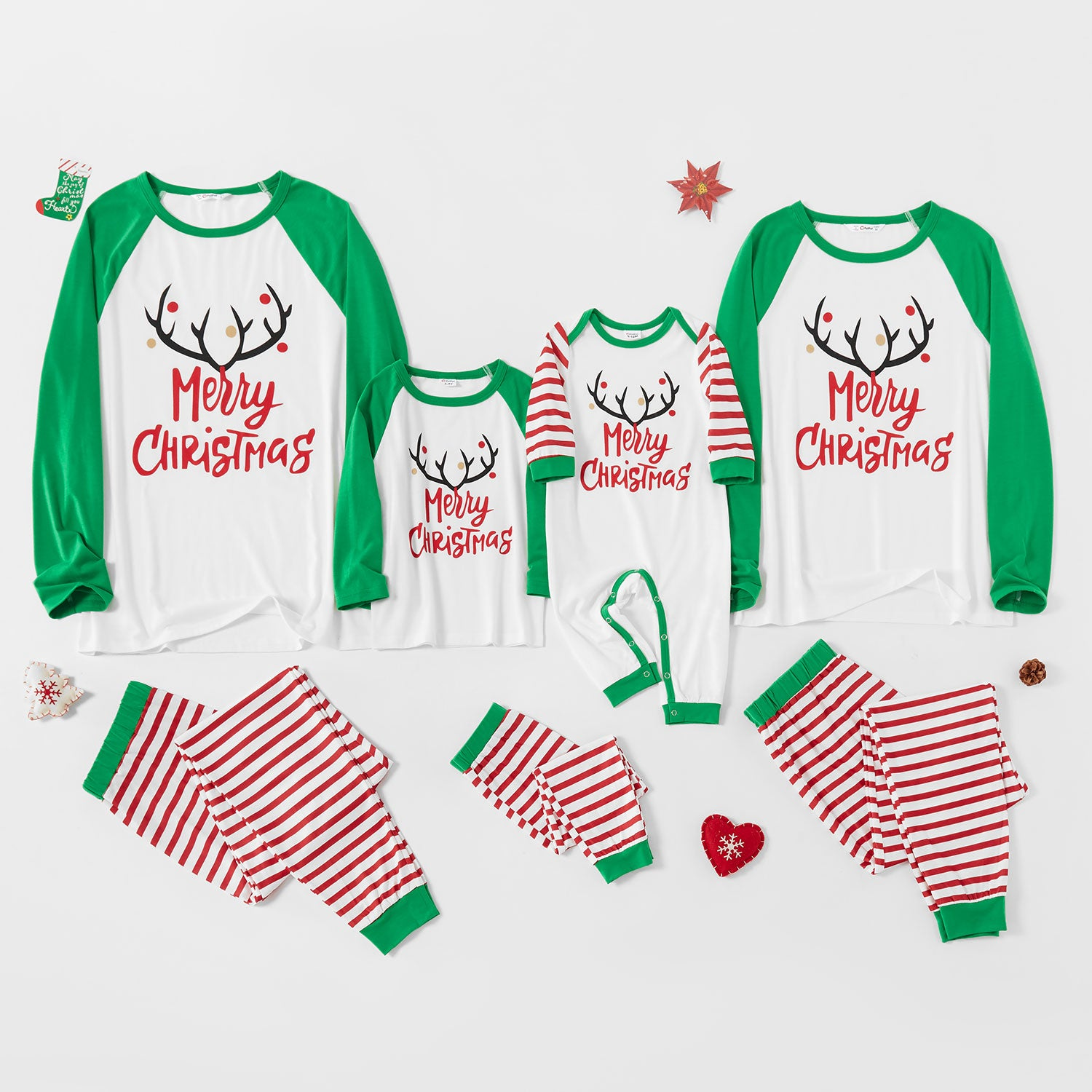 Merry Christmas Antler Top and Striped Pants Family Matching Pajamas Sets (Flame Resistant)