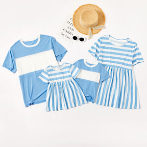 Blue and White Stripe Series Family Matching Tops