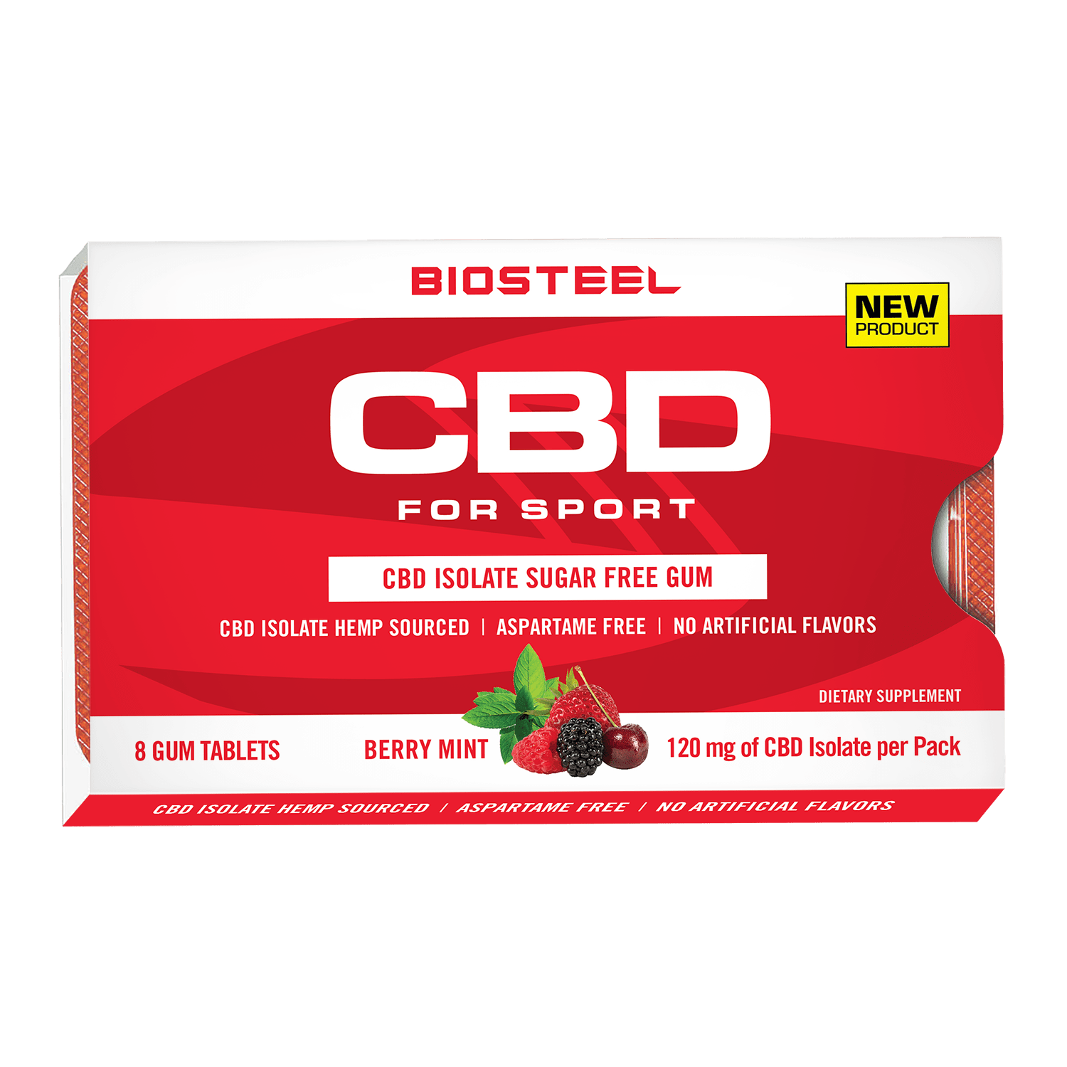 BioSteel CBD Sugar-Free Berry Mint Gum