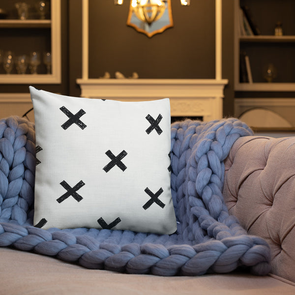 Handdrawn swiss cross pillow