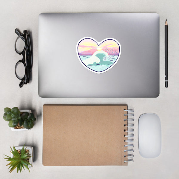 Sunset ocean heart stickers