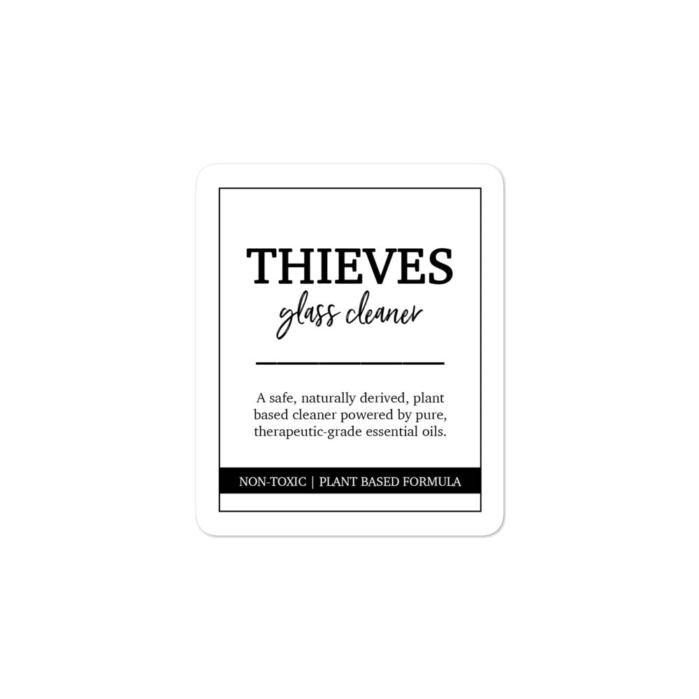 Thieves glass cleaner label