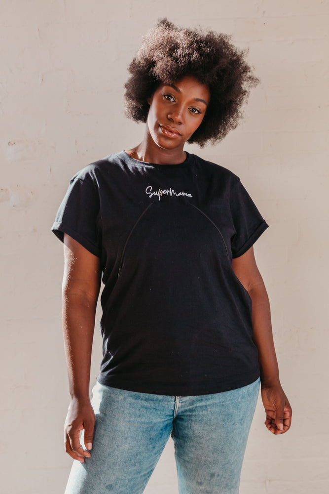 Organic SuperMama Black Breastfeeding T-Shirt