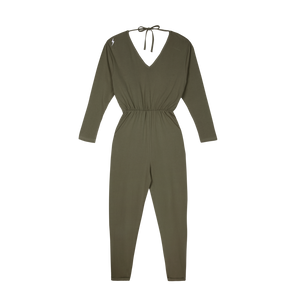 Organic Cotton Khaki Breastfeeding Jumpsuit