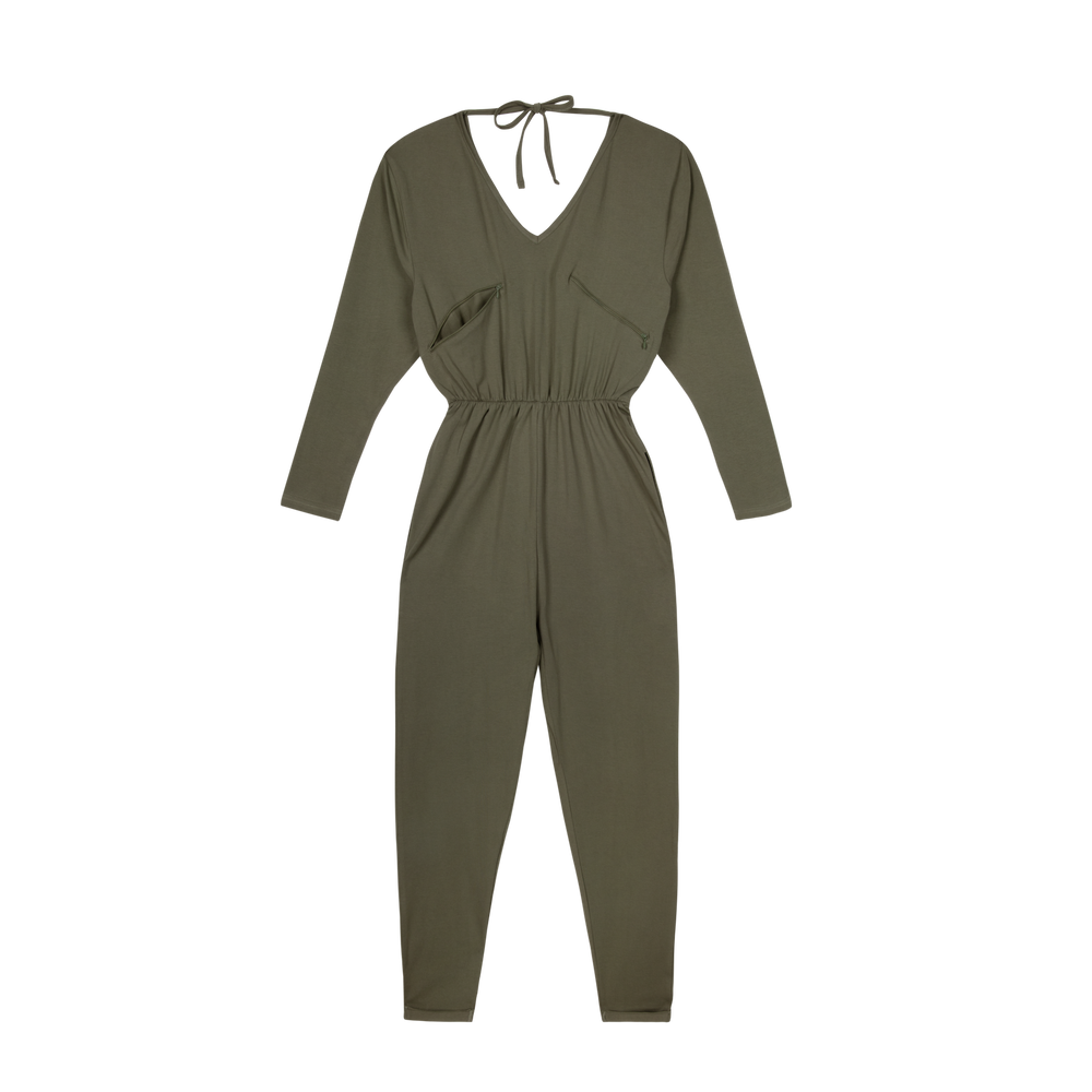 Load image into Gallery viewer, Organic Cotton Khaki Breastfeeding Jumpsuit