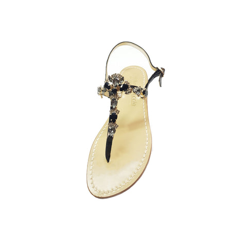 Positano sandal, with stones, black