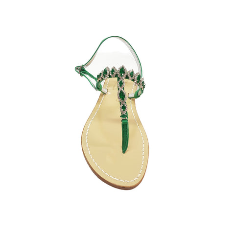 Positano sandal, with stones, green