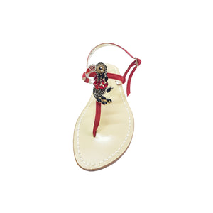 Positano sandal, with stones, red