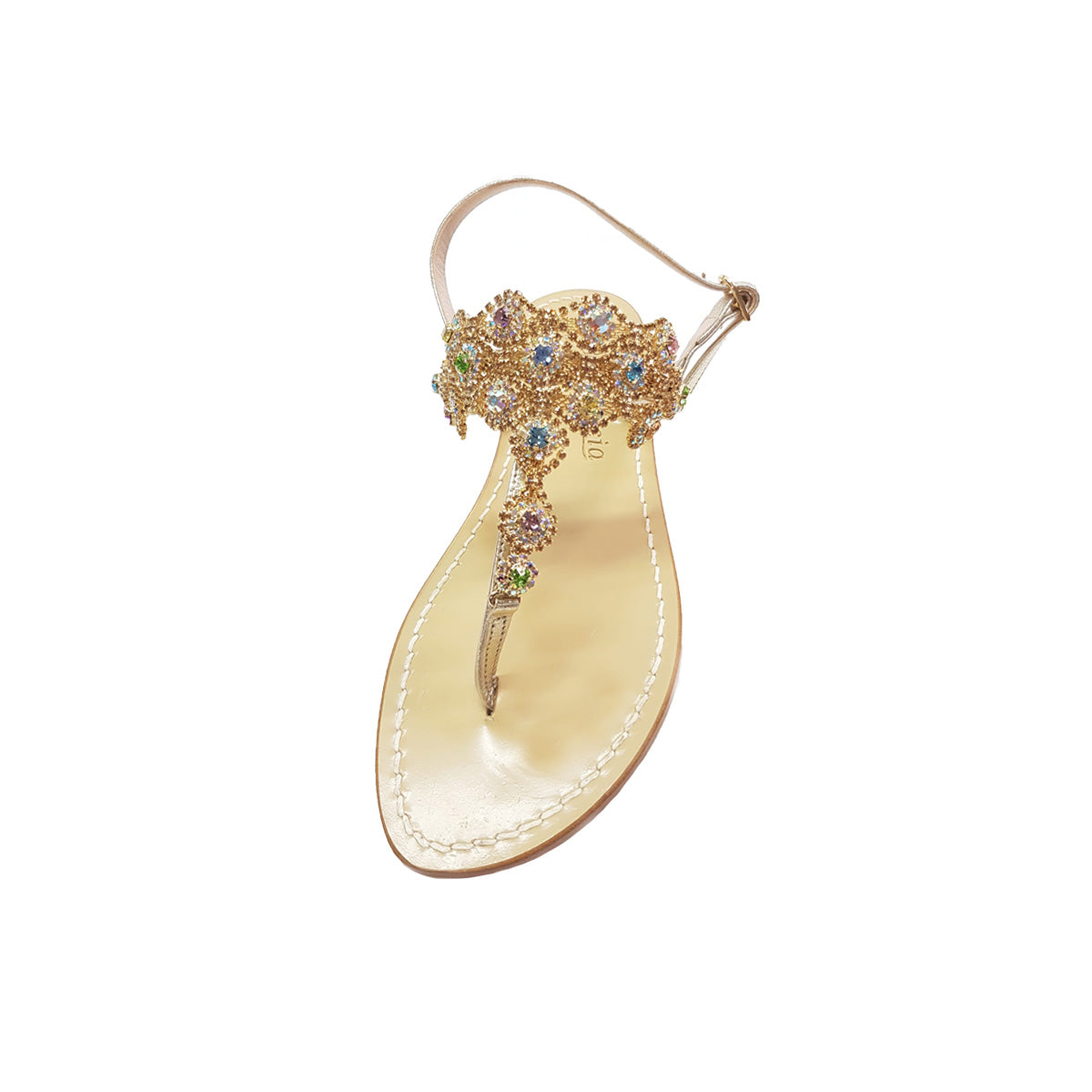 Positano sandal, with stones, gold
