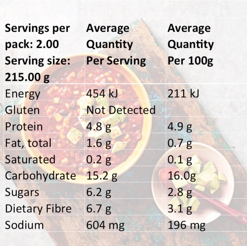 Mexilicious Mixed Carton Nutritional Info