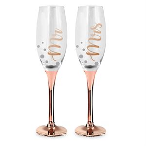 ROSE GOLD STEM MR & MRS CHAMPAGNE GLASSES