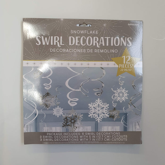 SNOWFLAKE HANGING FOIL SWIRL DECORATIONS