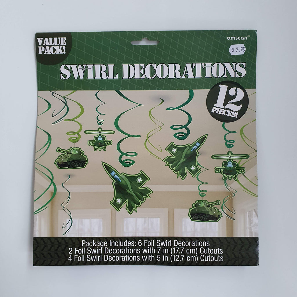 CAMOUFLAGE HANGING SWIRL DECORATIONS
