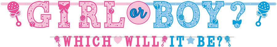 GENDER REVEAL GIRL OR BOY? JUMBO LETTER BANNER KIT