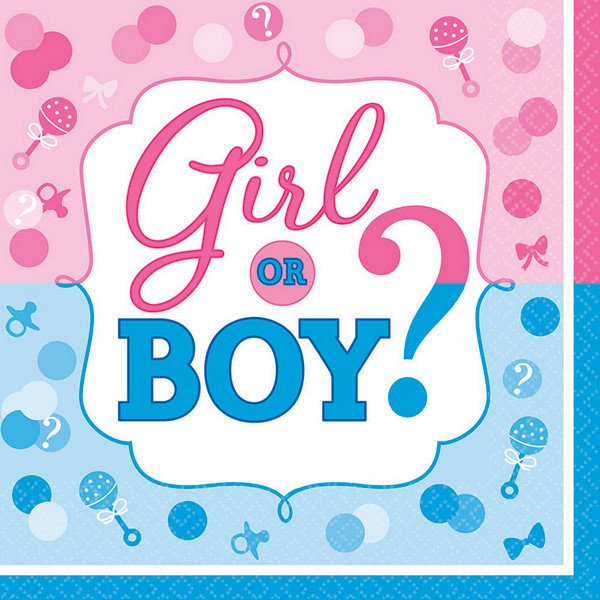 GENDER REVEAL GIRL OR BOY? LUNCHEON NAPKINS