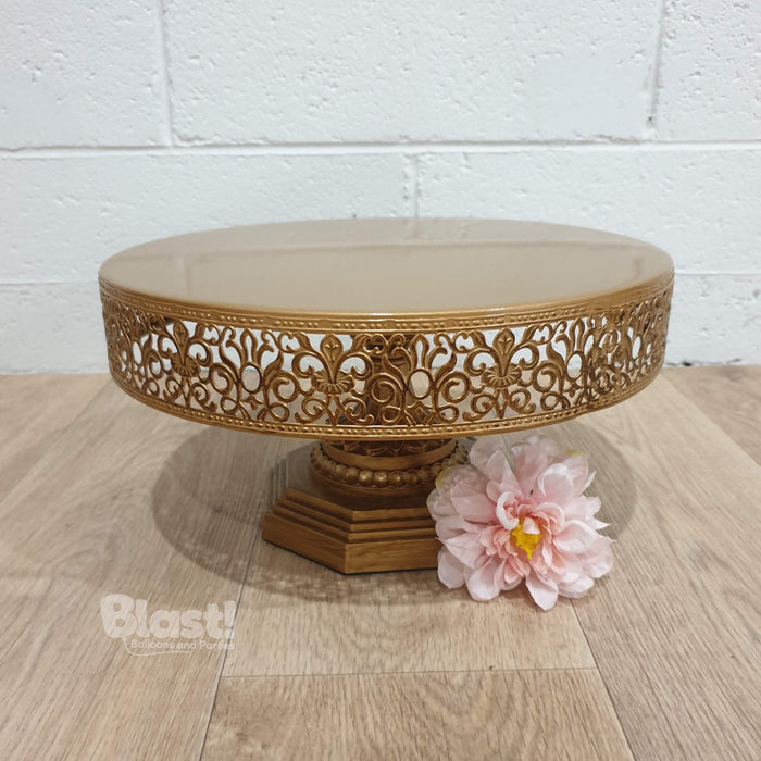 """VICTORIA"" FOOTED CAKE STAND - ANTIQUE GOLD"