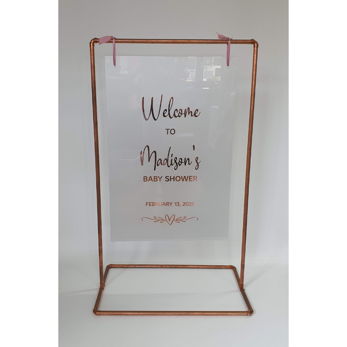 """ARTHUR"" COPPER FRAME WITH CUSTOMISED ACRYLIC SIGN"
