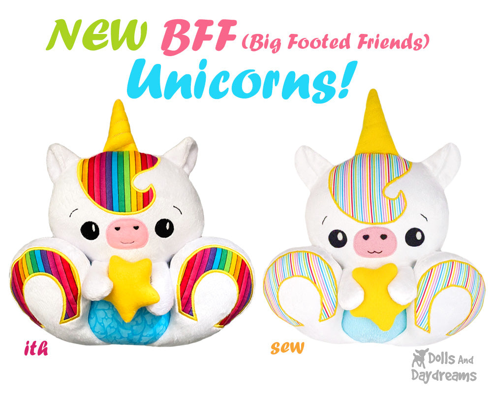 NEW BFF Unicorn Sewing and In The Hoop Pattern is here!