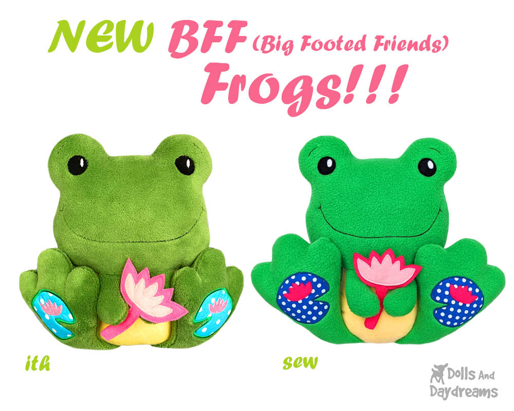 NEW BFF Frog Sewing and Machine Embroidery Pattern is Here!
