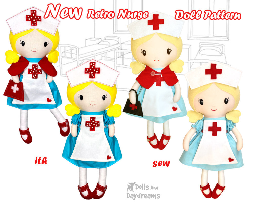 New Retro Nurse Dress Up Doll Sewing and Machine Embroidery Patterns are here!