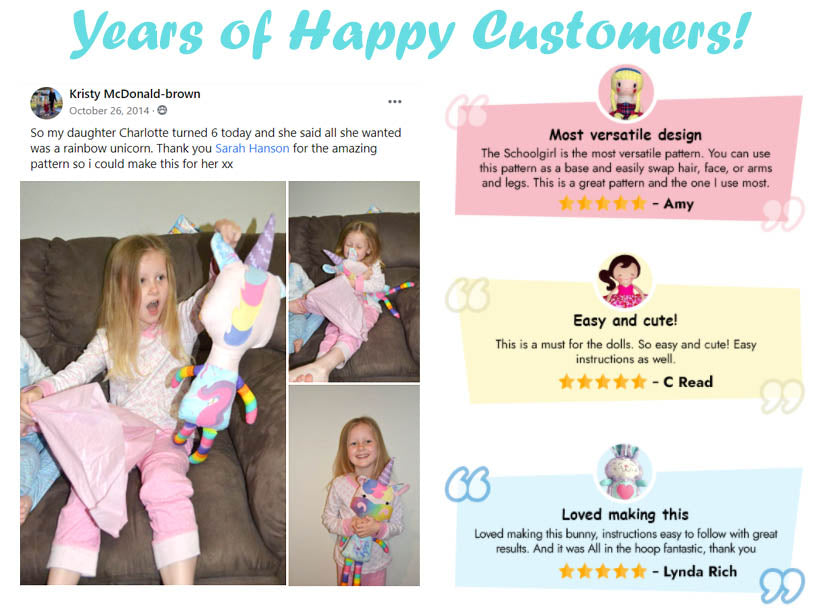 happy customer reviews of sewing and machine embroidery cloth doll and soft toy patterns by dolls and daydreams