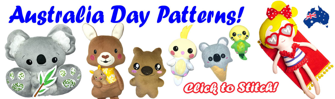 Australia Day Sewing  and In The Hoop Machine Embroidery Patterns Aussie DIY Plush by Dolls And DaydreamsToys